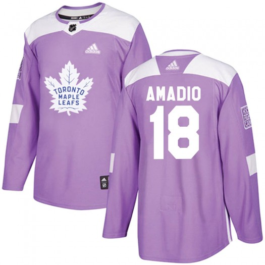 Michael Amadio Toronto Maple Leafs Youth Adidas Authentic Purple Fights Cancer Practice Jersey