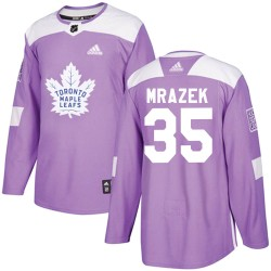 Petr Mrazek Toronto Maple Leafs Youth Adidas Authentic Purple Fights Cancer Practice Jersey