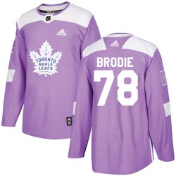 T.J. Brodie Toronto Maple Leafs Youth Adidas Authentic Purple Fights Cancer Practice Jersey